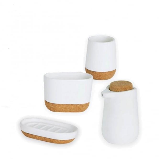 Umbra kera bathroom collection white cork black by design for Bathroom designs cork