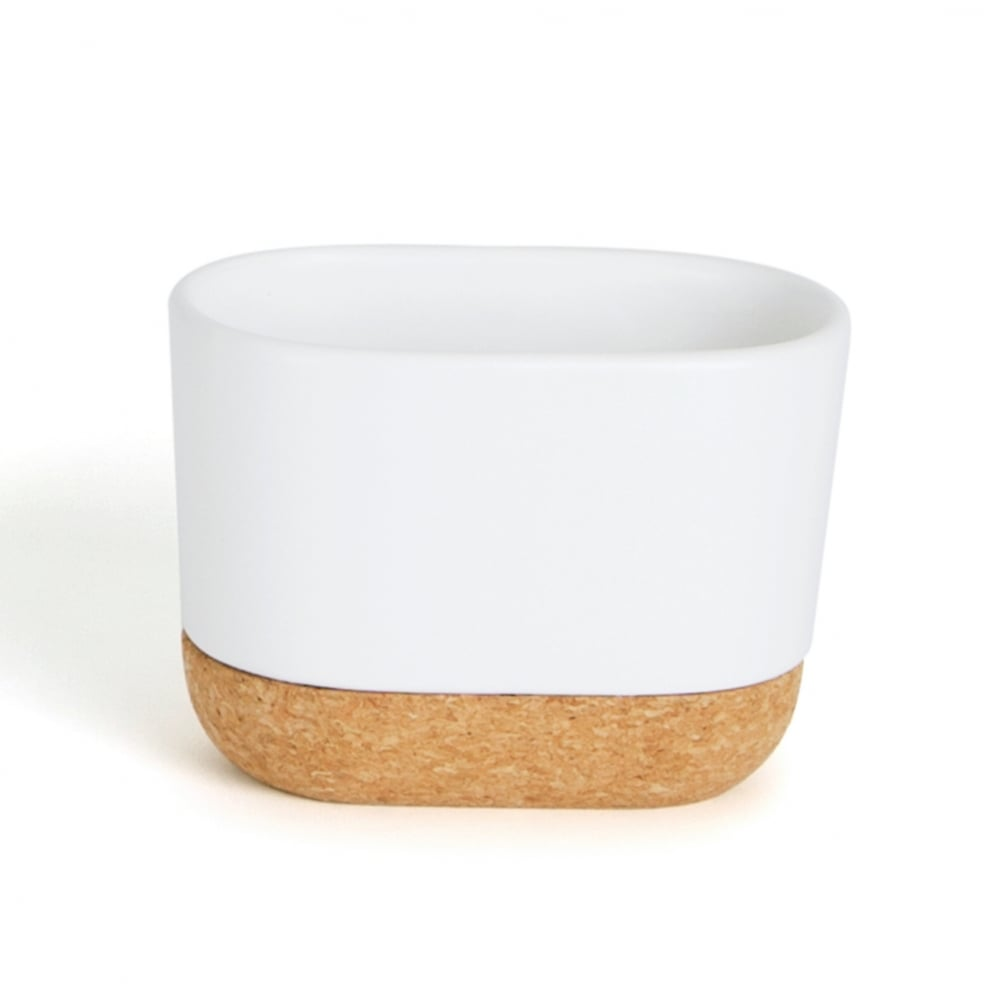 Umbra kera bathroom collection in white and cork from for Umbra bathroom accessories