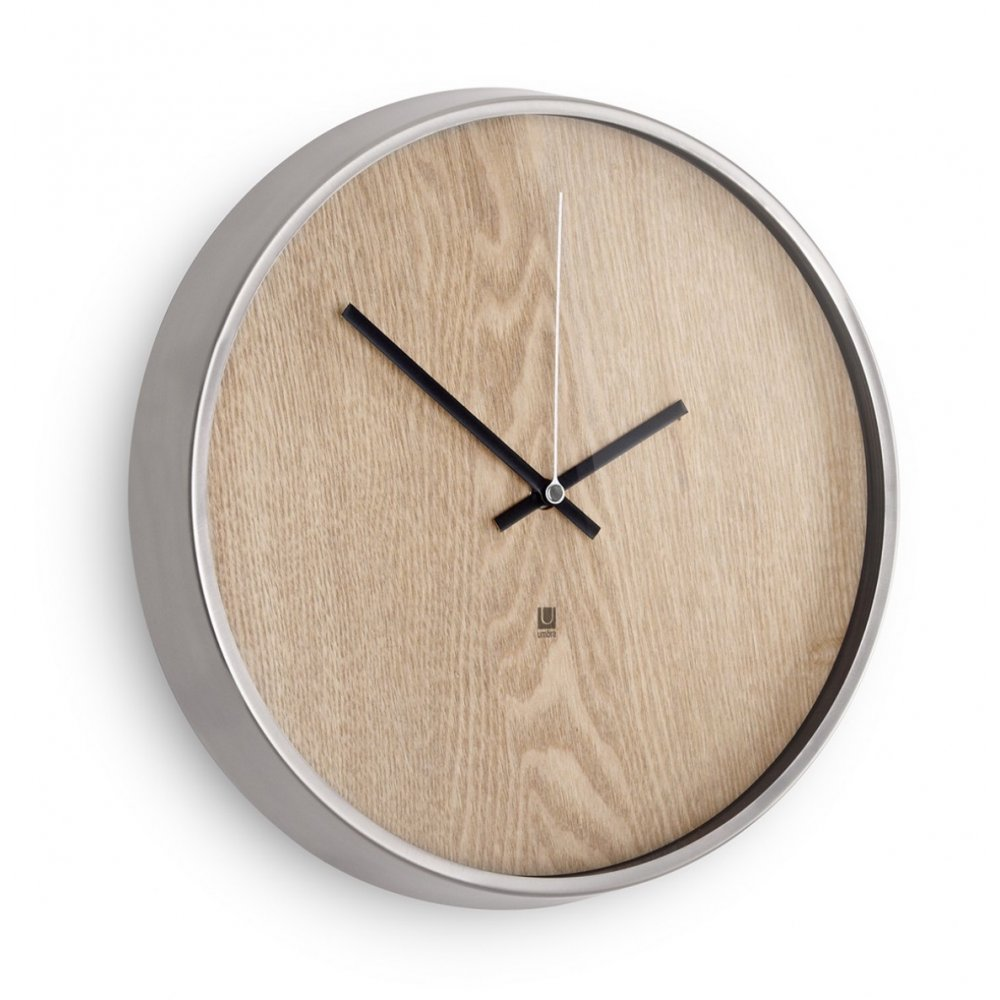 Umbra Ribbonwood Wall Clock Natural Black By Design