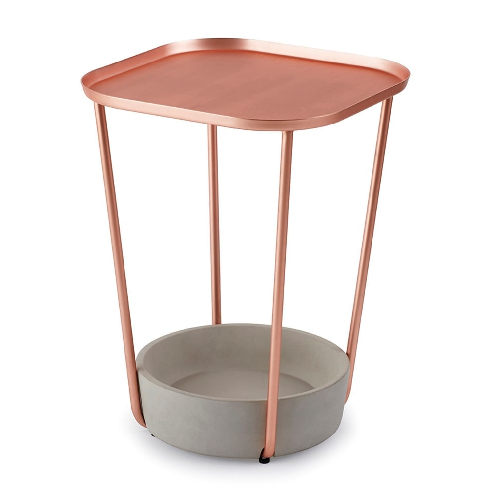 Tavalo Side Table   Concrete/Copper