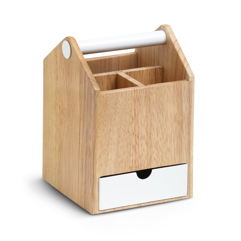 Umbra Toto Tall Storage Box | White/Natural | Black by Design
