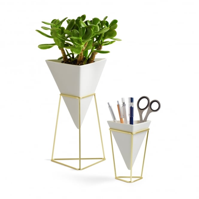 Umbra Trigg Desk Set - White/Brass - Set of 2