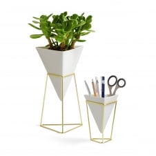 Trigg Desk Set - White/Brass - Set of 2