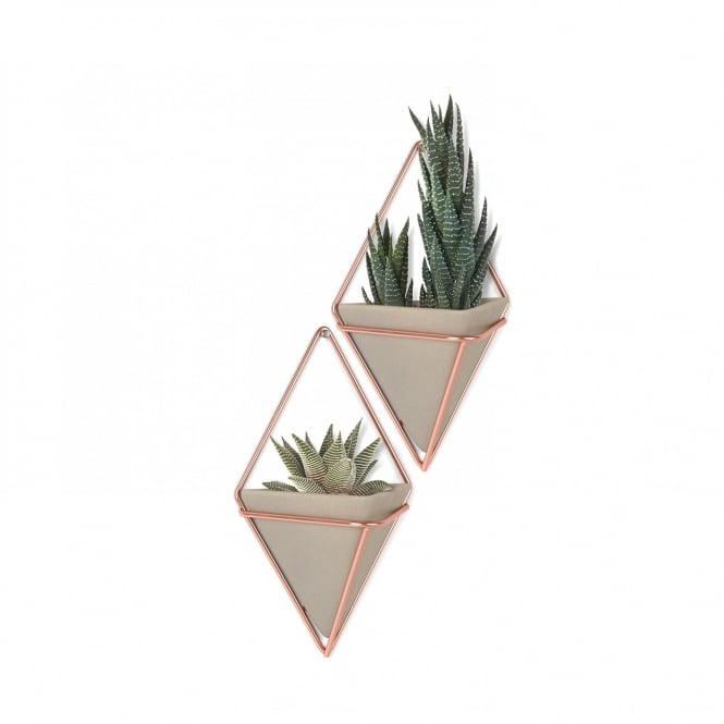 Umbra Trigg Wall Organiser/Container - Small - Concrete/Copper - Set of 2