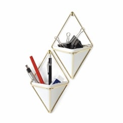 Trigg Wall Organiser/Containers Small - White/Brass - Set of 2