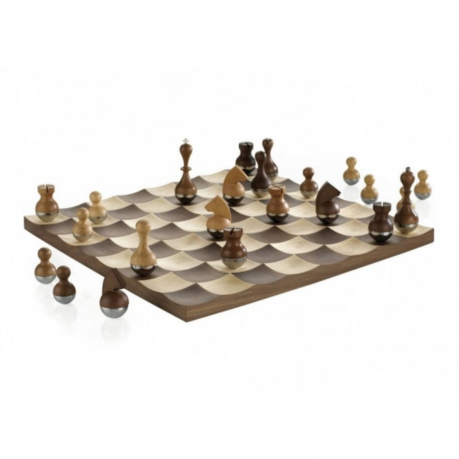 Umbra Wobble Chess Set - Walnut