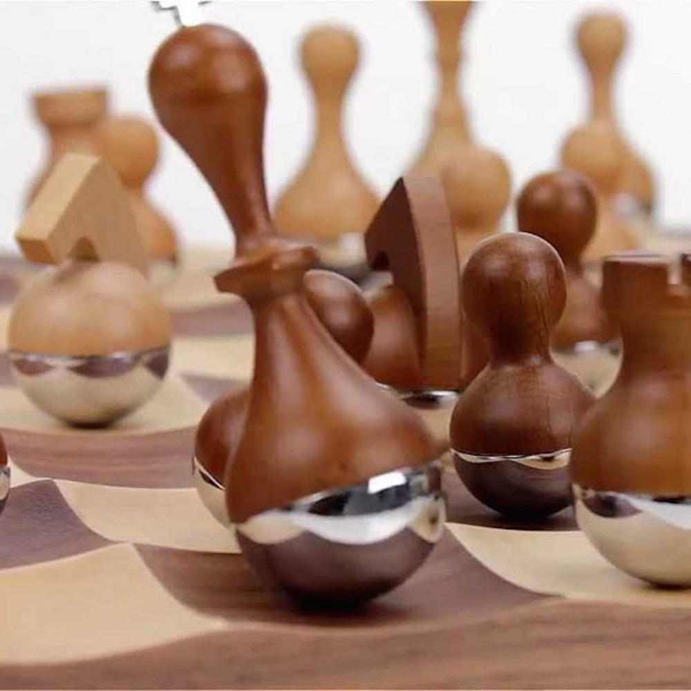 Umbra wobble chess set in walnut available at black by - Wobble chess set by umbra ...
