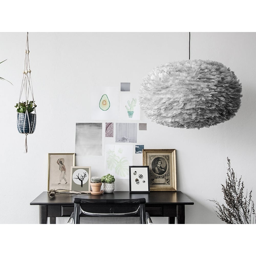 Vita eos feather pendant shade light grey xl black by design eos feather pendant shade light grey xl 75cm mozeypictures Choice Image