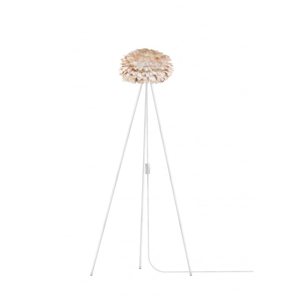Vita Light Brown Feather Eos Mini/White Tripod Floor Lamp | Black by ...