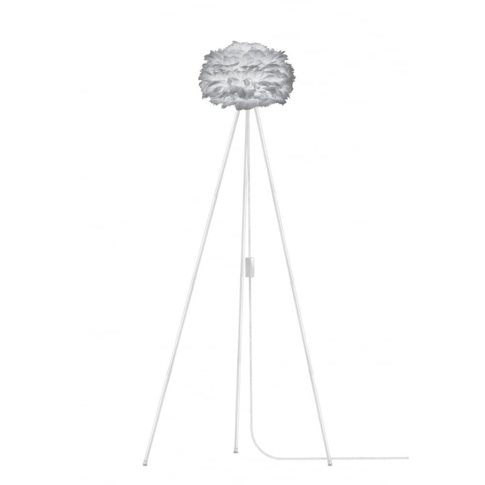 Vita Light Grey Feather Eos Mini/White Tripod Floor Lamp | Black by ...