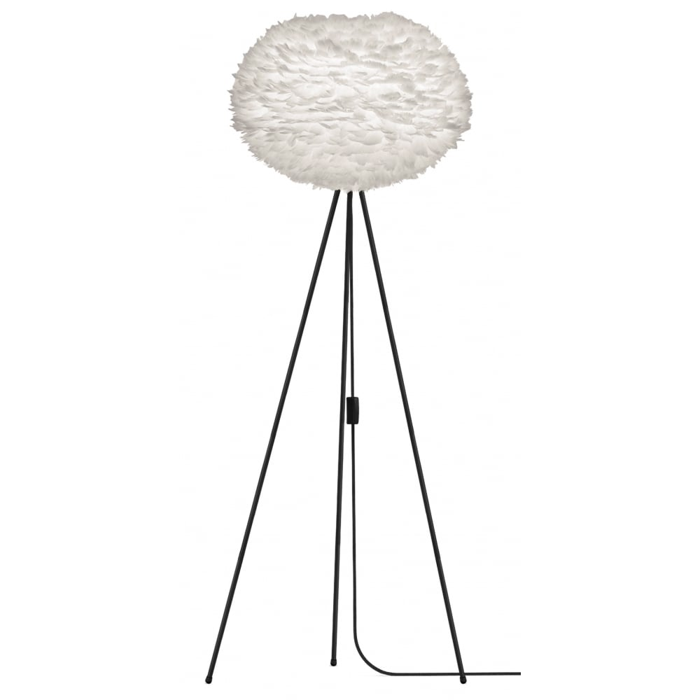 Vita White Feather Eos Large/Black Tripod Floor Lamp | Black by Design