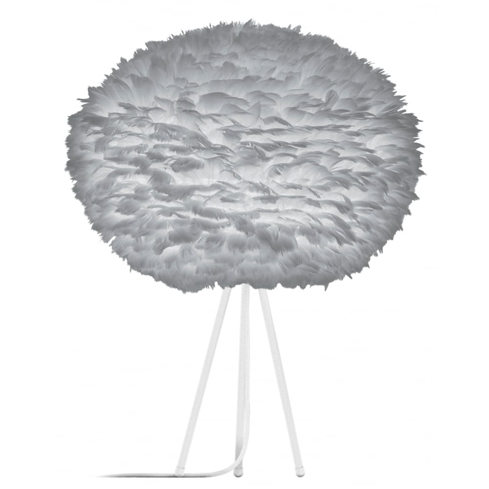 Vita Light Grey Feather Eos Large White Tripod Table Lamp Black By