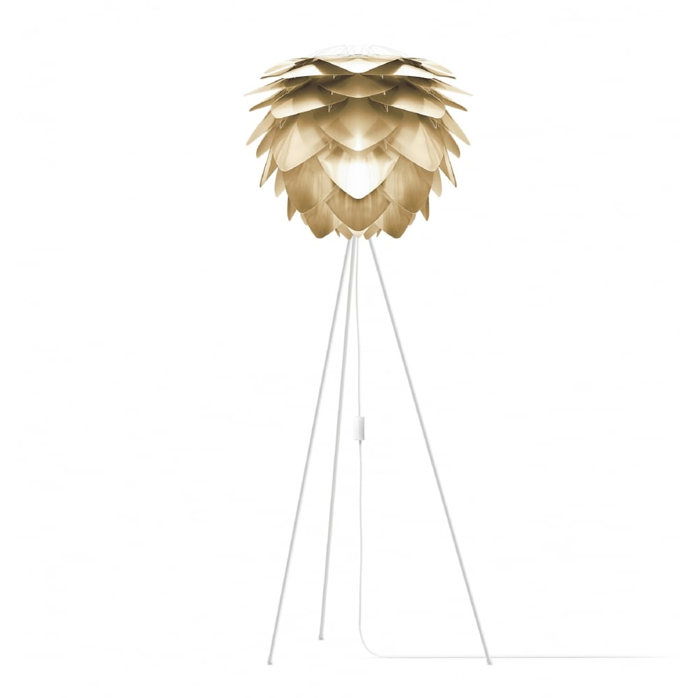 Vita Brushed Brass Silvia/White Tripod Floor Lamp | Black by Design