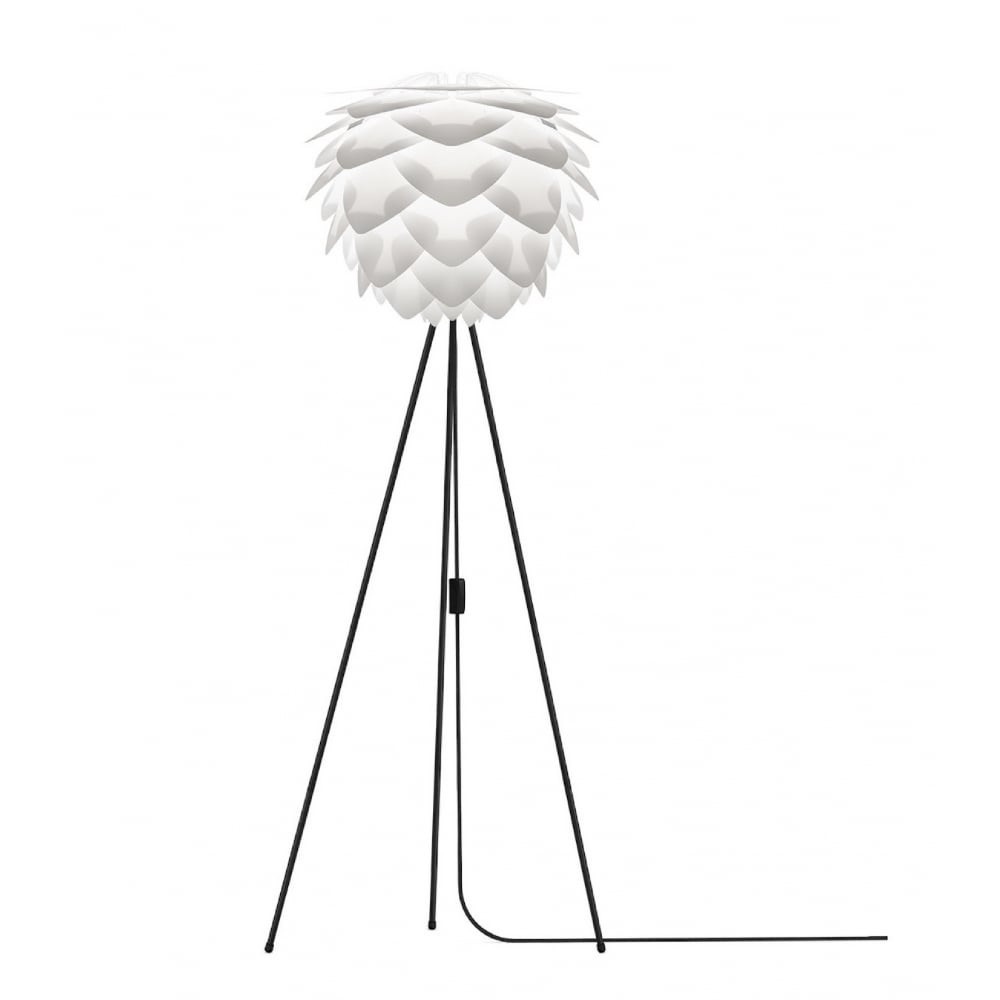 Vita White Silvia/Black Tripod Floor Lamp | Black by Design