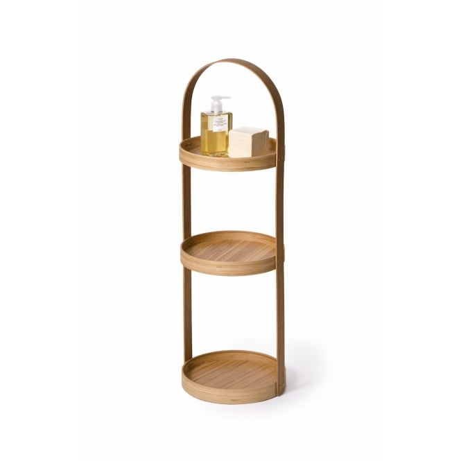 Wireworks 3 Tray Mezza Round Bathroom Caddy - Bamboo