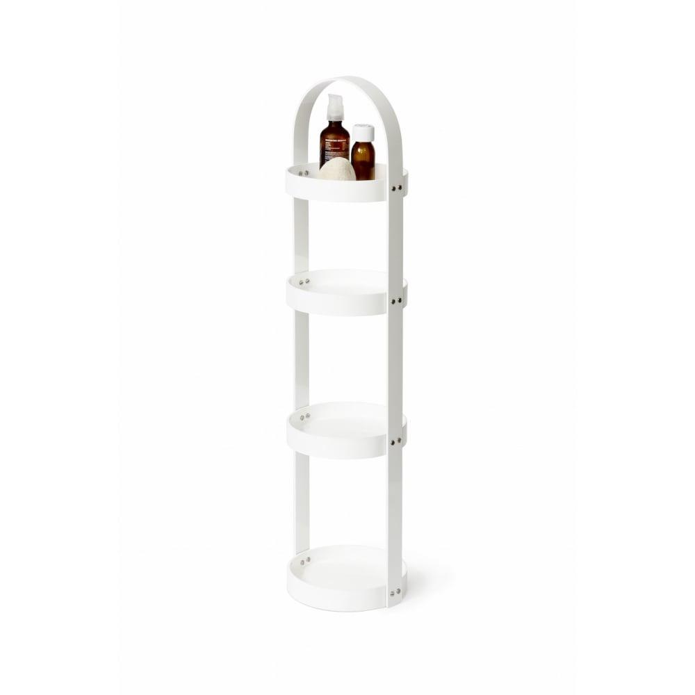 Wireworks 4 Tray Mezza Round Caddy | Gloss White | Black by Design