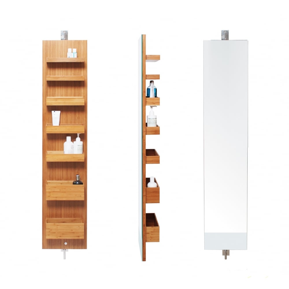 Wireworks Arena Revolve Bathroom Cabinet 1400 | Bamboo | Black by Design