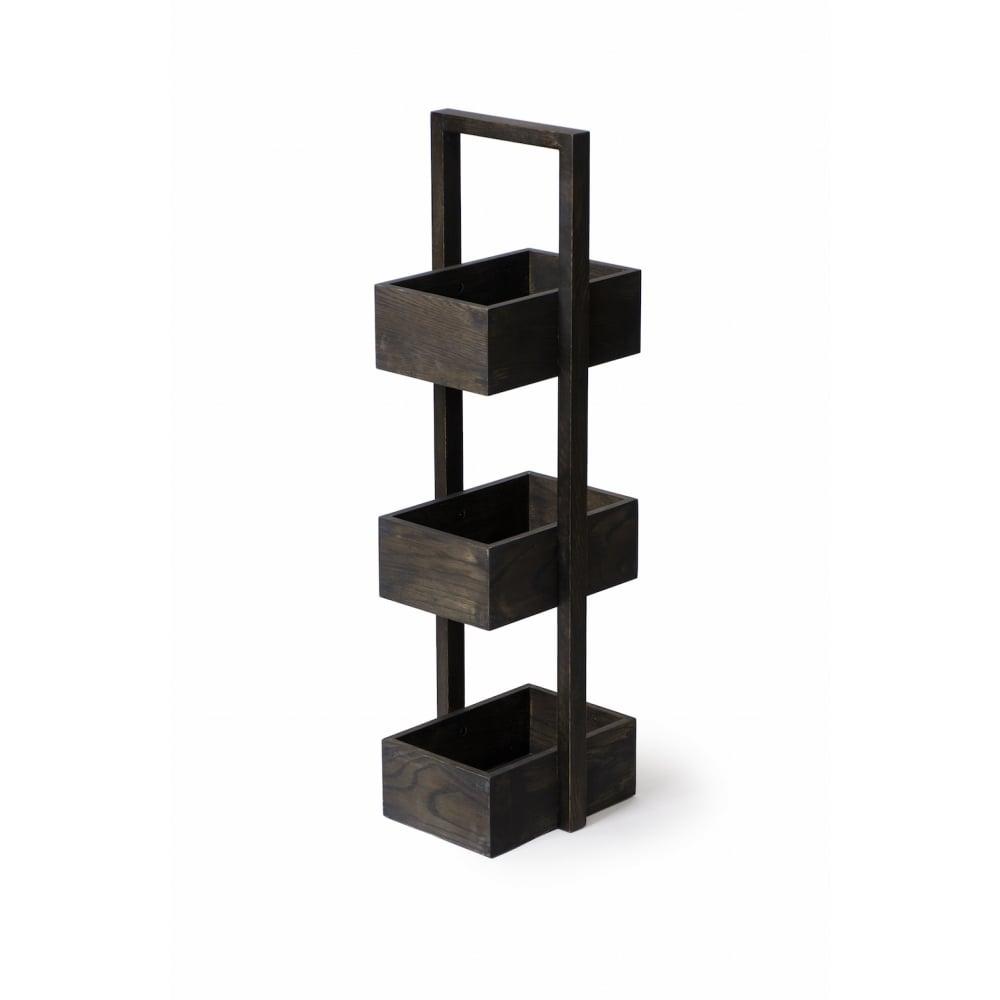 Wireworks 3 Tier Mezza Bathroom Caddy   Dark Oak   Black by Design