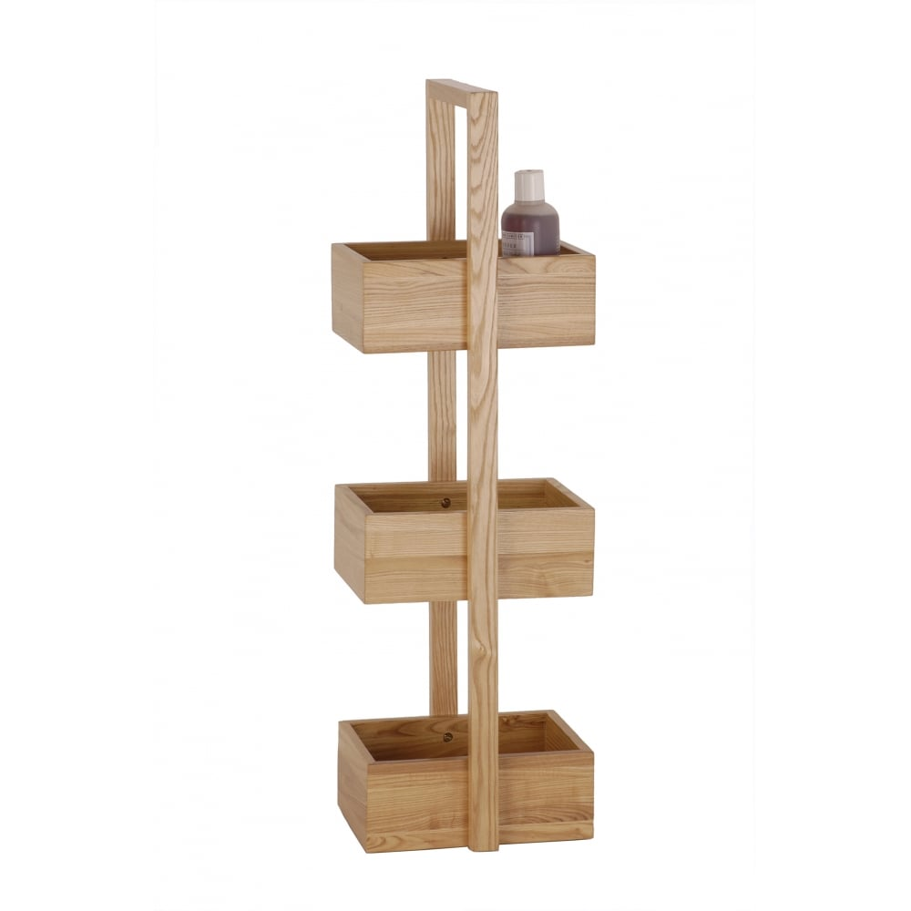 Wireworks 3 Tier Mezza Bathroom Caddy | Oak | Black by Design
