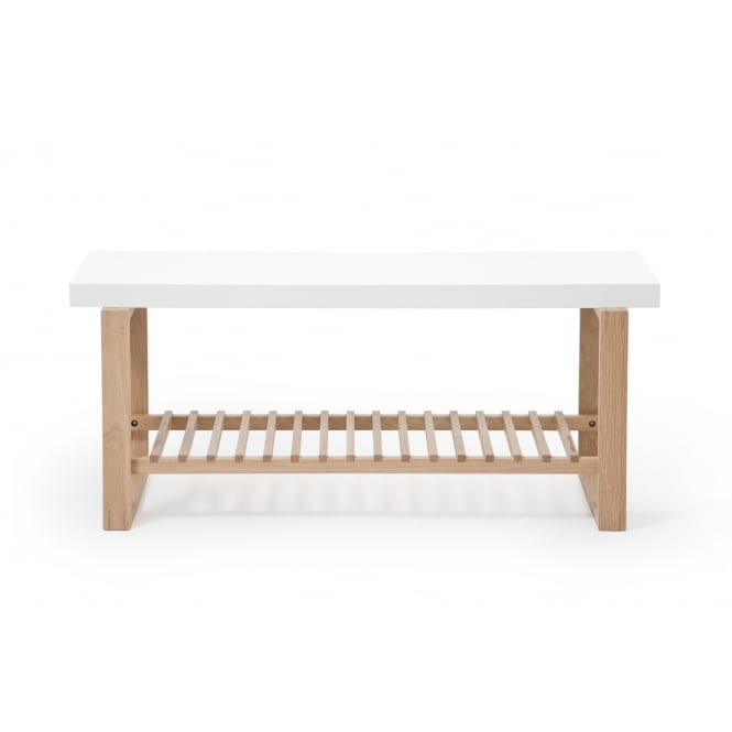 Wireworks Oak/White Bench with Storage