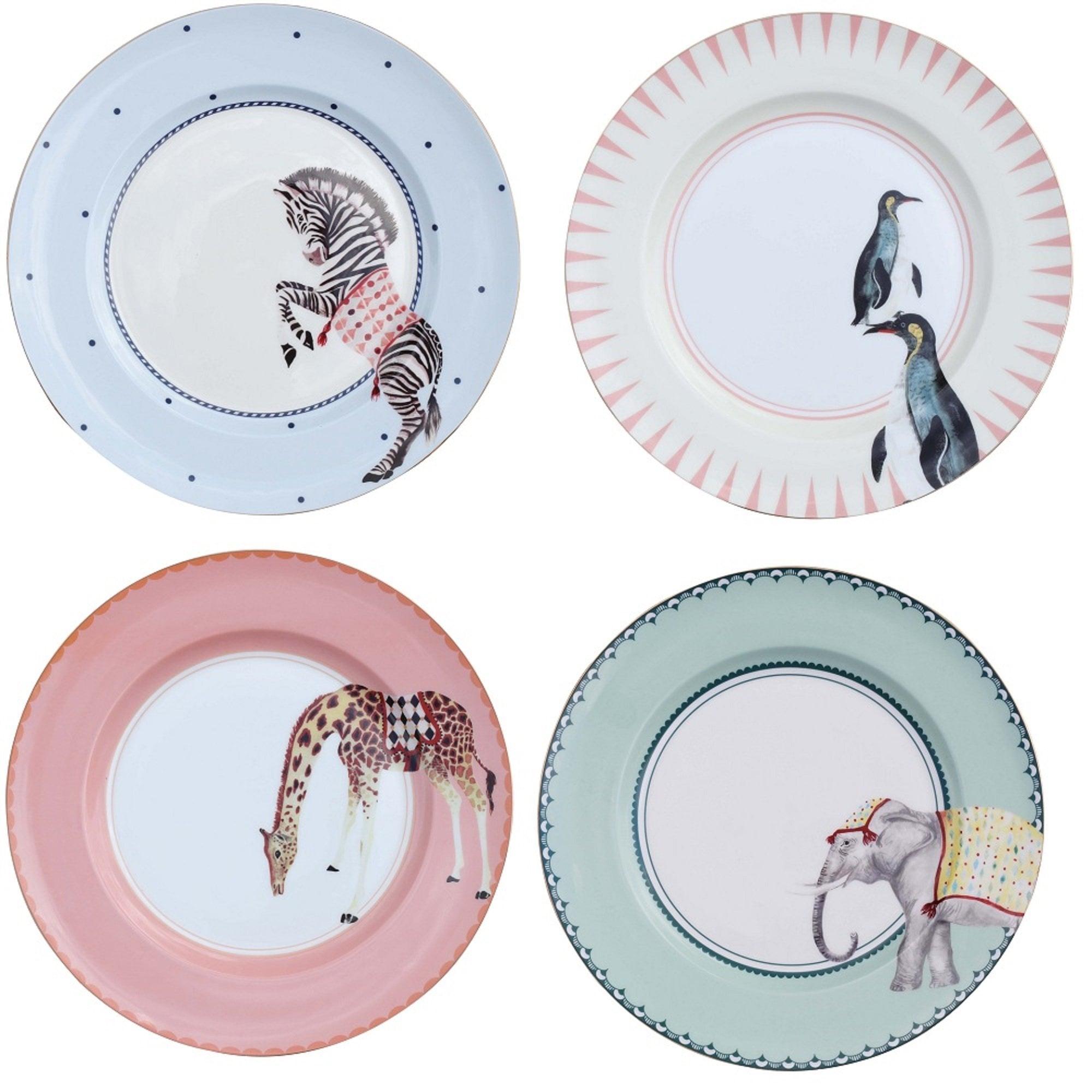 Yvonne Ellen Carnival Animal Dinner Plates Set Of 4 Black By Design
