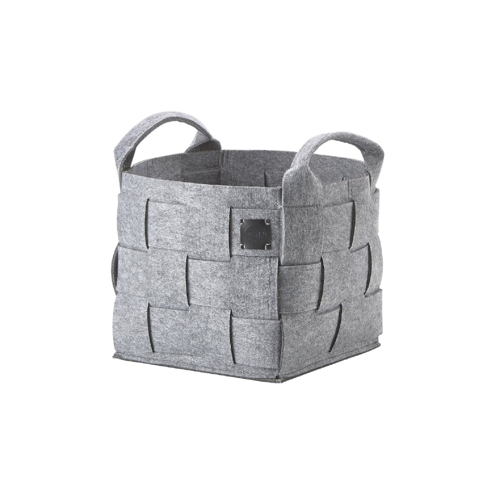 Attirant Hide Felt Laundry/Storage Basket   Small   Grey